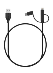Rav Power 3-Feet 3-in-1 Data Multiple Types Cable, USB Type-A Male to Lightning/USB Type-C/Micro USB for Smartphones/Tablets, Black