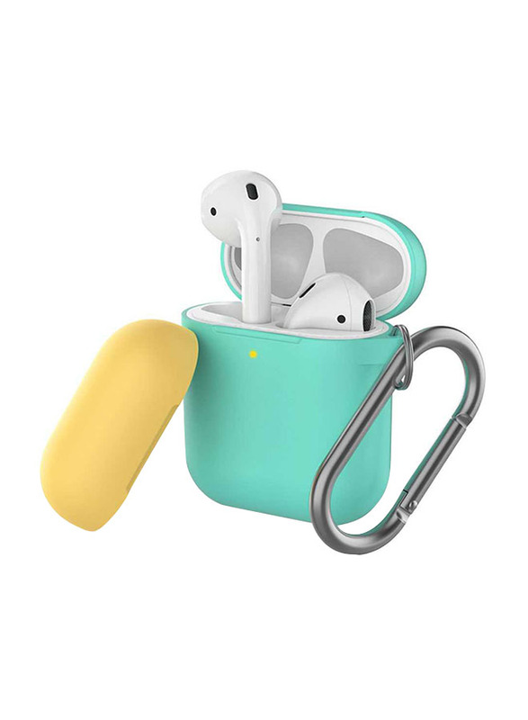 AhaStyle Keychain Version Two Toned Silicone Case for Apple AirPods, Mint Green/Yellow