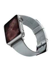 Viva Madrid Montre Allure Leather Strap for Apple Watch 42mm/44mm, Light Blue/Silver