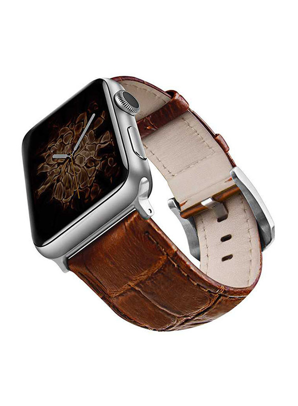Viva Madrid Montre Crox Leather Strap for Apple Watch 42mm/44mm, Brown/Silver