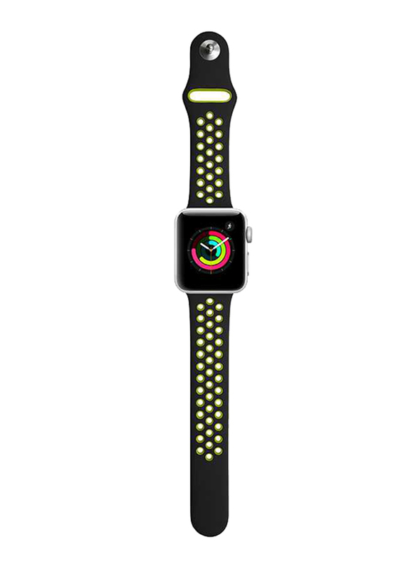 Porodo Apple Watch 44mm/42mm Nike Replacement Watch Band, Black/Yellow