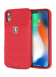 Ferrari Apple iPhone XR 4000mAh Off Track Full Cover Power Rubber Back Case, Red