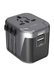 Porodo Universal Travel Adapter, with Dual USB Port 2.4A, Black