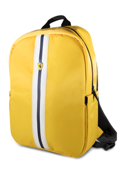 Ferrari Pista 15-inch Metal Logo On Track Backpack Laptop Bag, with Charging Cable, Yellow