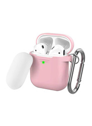 AhaStyle Keychain Version Two Toned Silicone Case for Apple AirPods, Pink/White