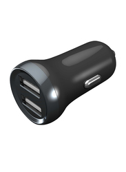 Porodo Mini Car Charger, 2.4A with Dual Port, Black