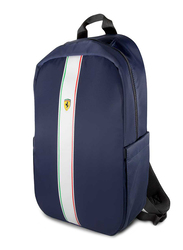 Ferrari Pista 15-inch Metal Logo On Track Backpack Laptop Bag, with Charging Cable, Navy