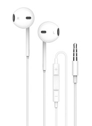 Porodo Soundtec Stereo 3.5mm Jack In-Ear Earphones, with High-Clarify Mic, White