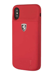 Ferrari Apple iPhone X 3600mAh Off Track Full Cover Power Rubber Back Case, Red