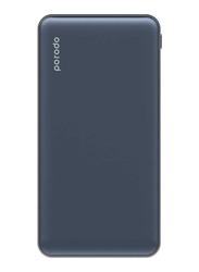 Porodo 10000mAh Super Slim Fashion Series PD Power Bank with USB Type-C Input, Navy Blue