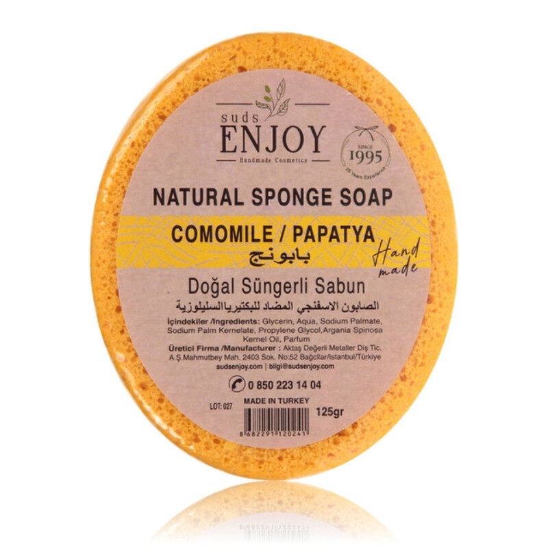 Suds Enjoy Camomile Natural Sponge Soap, 125 gm