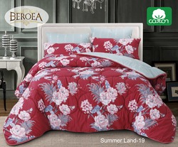 Beroea 6-Piece Cotton Printed Duvet Cover Set, 1 Duvet Cover + 1 Fitted Sheet + 2 Pillow Case + 2 Pillow Sham, Summer Land-19, Red/Blue, Super King