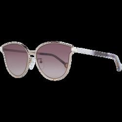 Carolina Herrera Full-Rim Cat Eye Shiny Red Gold Sunglasses for Women, Brown Lens, SHE104 590A39, 59/16/140