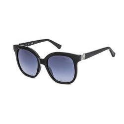 Guess Full-Rim Square Shiny Black Sunglasses for Women, Gradient Smoke Lens, GF6086 01B, 54/19/140