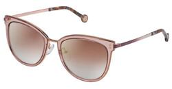 Carolina Herrera Full-Rim Round Shiny Copper Gold Sunglasses for Women, Mirrored Violet Lens, SHE102 538FCG, 53/19/135