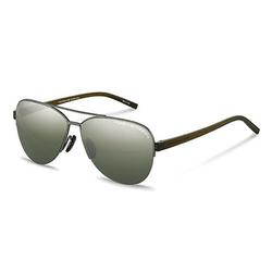 Porsche Design Polarized Full-Rim Aviator Gun Sunglasses for Women, Olive/Silver Mirror Lens, P8676 C, 58/13/140