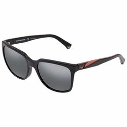 Emporio Armani Full-Rim Square Black Sunglasses for Women, Grey Lens, EA4070F 50176G, 55/19/140