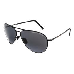 Porsche Design Full-Rim Aviator Black Sunglasses for Women, Grey/Blue Lens, P8508 D, 64/12/140