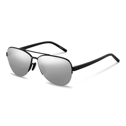 Porsche Design Polarized Full-Rim Aviator Black Sunglasses for Women, Mercury/Silver Mirror Lens, P8676 A, 60/13/145