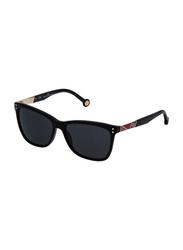 Carolina Herrera Full-Rim Cat Eye Shiny Black Sunglasses for Women, Black Lens, SHE749 550700, 55/16/135