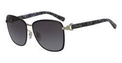 Longchamp Full-Rim Square Gold/Black Sunglasses for Women, Grey Lens, LO103S 720, 58/15/140
