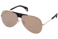 Police Full-Rim Aviator Gold Sunglasses for Women, Gold Lens, SPL740 300G, 62/11/140