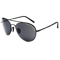 Porsche Design Full-Rim Aviator Black Sunglasses for Women, Grey Lens, P8606 C, 54/19/135