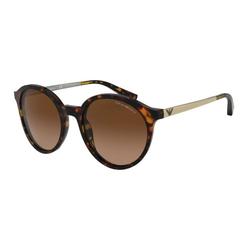 Emporio Armani Full-Rim Round Havana/Brown Sunglasses for Women, Brown Lens, EA4134F 576513, 53/20/140
