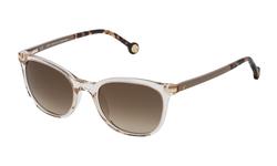 Carolina Herrera Full-Rim Square Clear Light Yellow Sunglasses for Women, Black Lens, SHE650V 50846G, 58/17/145