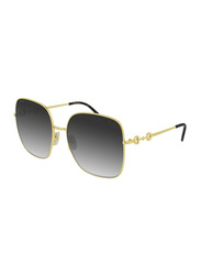 Gucci Full-Rim Square Gold Sunglasses for Women, Grey Lens, GG0879S 001 61, 61/18/140