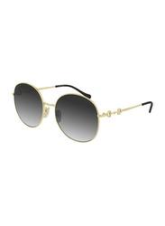 Gucci Full-Rim Round Gold Sunglasses for Women, Grey Lens, GG0881SA 001 59, 59/19/145