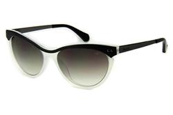Kenneth Cole Full-Rim Semi Cat Eye Black/White Sunglasses for Women, Gradient Smoke Lens, KC7135 04B, 56/16/135