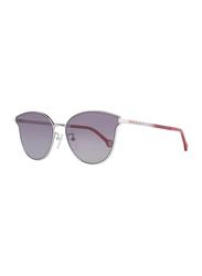 Carolina Herrera Full-Rim Butterfly Silver Sunglasses for Women, Dark Grey Lens, SHE104 0579, 59/16/140