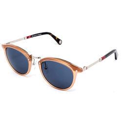 Carolina Herrera Full-Rim Round Shiny Opaline Honey/Silver Sunglasses for Women, Mirrored Blue Lens, SHE085 5009GS, 50/21/140