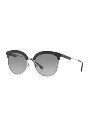 Emporio Armani Full-Rim Round Black Sunglasses for Women, Grey Gradient Lens, EA4102 500111, 54/19/140