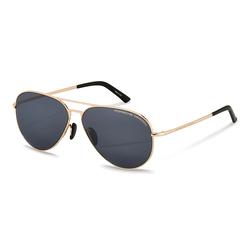 Porsche Design Full-Rim Aviator Gold Sunglasses for Women, Blue/ Mir Black/ Comfort Blue Lens, P8686 B, 62/12/140