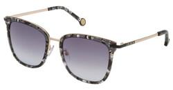 Carolina Herrera Full-Rim Square Shiny Grey Havana/Gold Sunglasses for Women, Black Lens, SHE122 520721, 52/20/135