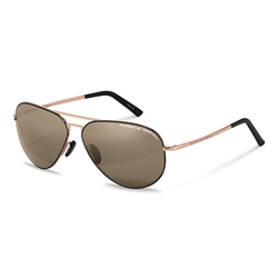 Porsche Design Full-Rim Aviator Copper/Black Sunglasses for Women, Brown Gradient Lens, P8508 S, 64/12/140