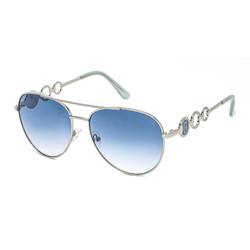 Guess Full-Rim Round Shiny Light Nickeltin Sunglasses for Women, Blue Lens, GF6114 10V, 59