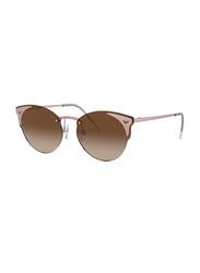 Emporio ArmaniRimless Round MatteRose Gold Sunglasses for Women, BrownGradientLens, EA2082, 58/16/140