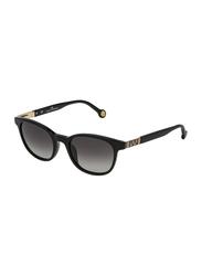 Carolina Herrera Full-Rim Oval Shiny Black Sunglasses for Women, Black Lens, SHE693 490700, 49/20/135