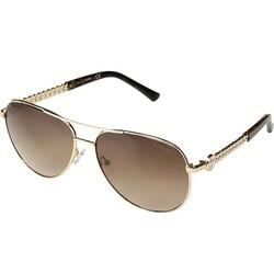 Guess Full-Rim Pilot Gold Sunglasses for Women, Gradient Brown Lens, GF6088 32F, 60/14/140