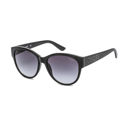 Guess Full-Rim Round Shiny Black Sunglasses for Women, Gradient Smoke Lens, GF6113 01B, 56