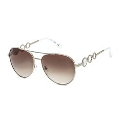Guess Full-Rim Round Shiny Light Nickeltin Sunglasses for Women, Gradient Brown Lens, GF6114 10F, 59
