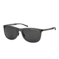 Porsche Design Polarized Full-Rim Square Grey Sunglasses for Women, Sun Polarized Grey Lens, P8672 D, 56/18/140