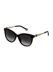 Carolina Herrera Full-Rim Cat Eye Shiny Black Sunglasses for Women, Gradient Grey Lens, SHE750 540700, 54/17/140