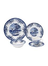 Claytan 20-Piece Windmill Ceramic Dinnerware Set, Blue