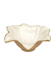 Julia Knight 8-inch Lily Abstract Aluminum Serving Bowl, 2.25 x 8 x 8cm, Gold Snow, Beige