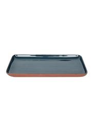 Urban Nature Culture 19cm Food Sharing Terracotta Rectangular Plate, 104630, Blue
