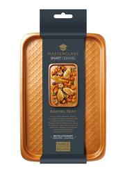 Masterclass 40cm Smart Ceramic Non-Stick Large Rectangle Baking Tray, 40 x 27cm, Orange
